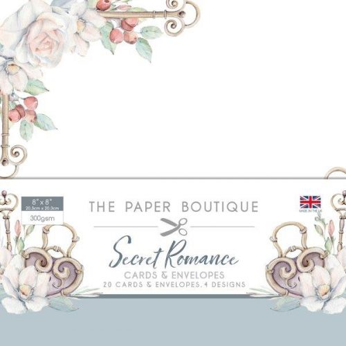 the paper boutique secret romance 8x8 card and envelope pack