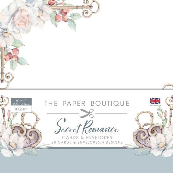 the paper boutique secret romance 8x8 card and envelope pack