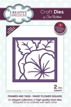 sue wilson craft die frames and tags pansy flower square