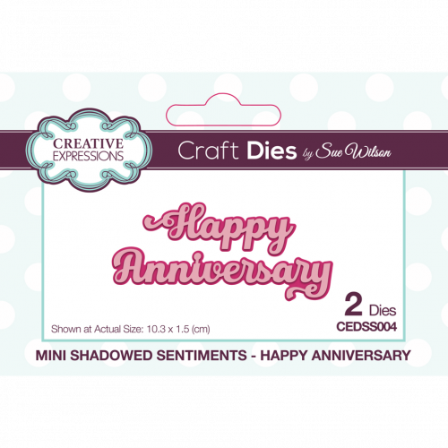 Sue Wilson Mini Shadowed Sentiments Happy Anniversary
