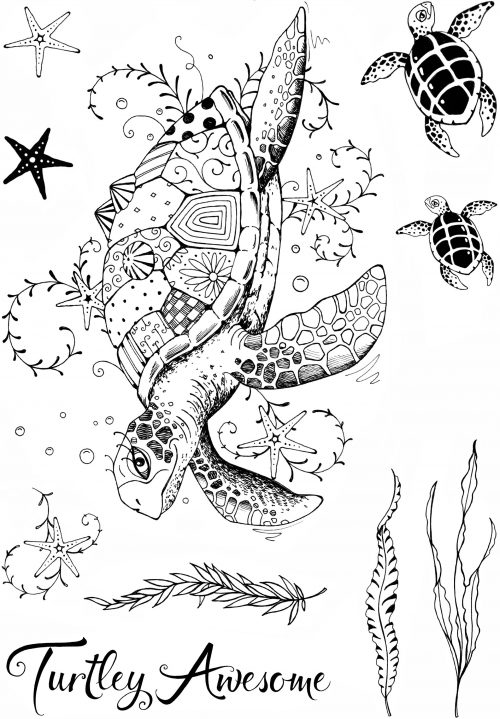 pink ink designs a5 stamp sea turtle