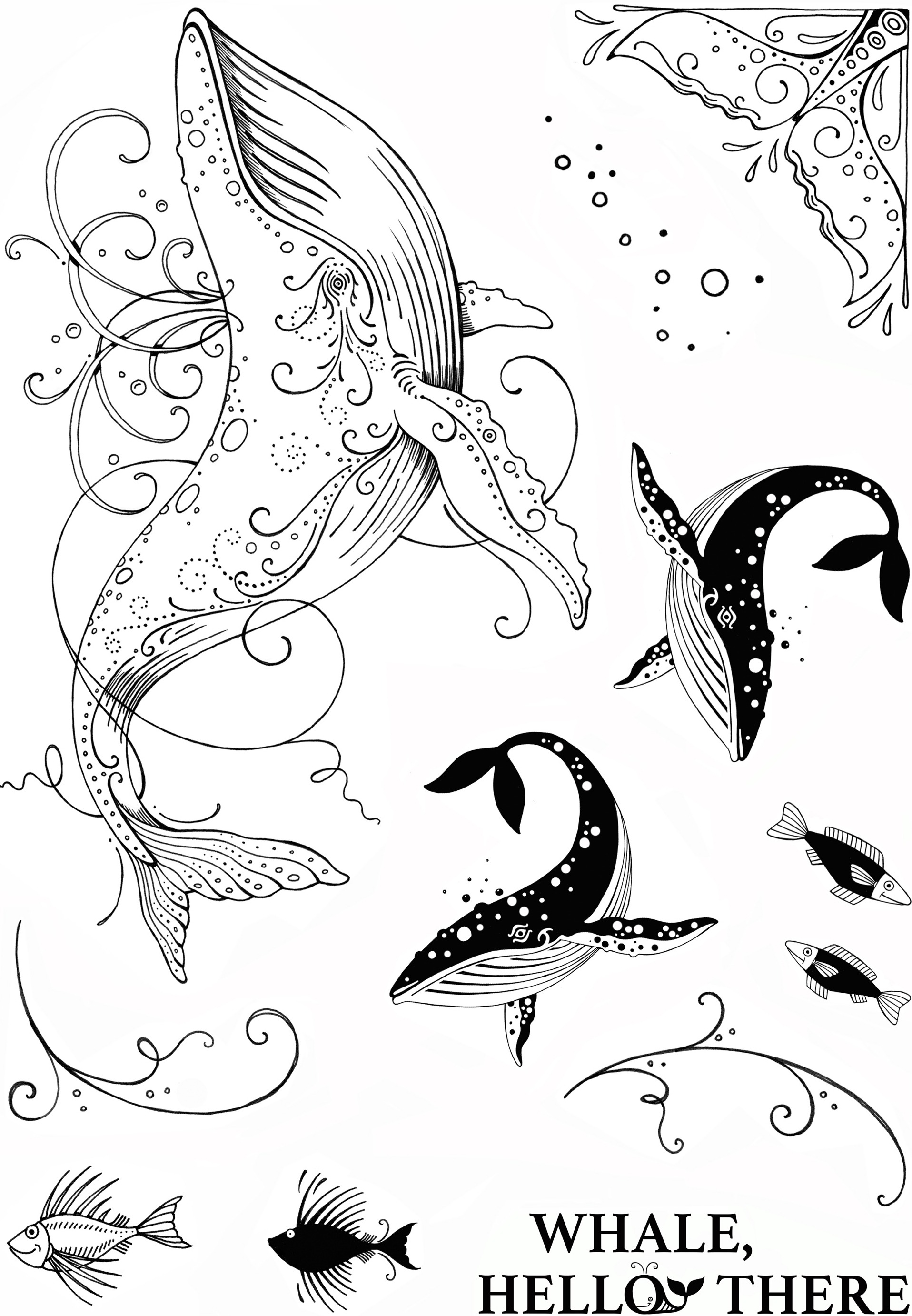pink ink designs a5 stamp whale