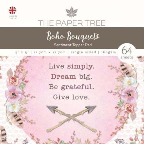 the paper tree boho bouquets 5x5 sentiment pad
