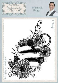 sentimentally yours bohemian banner a6 stamp