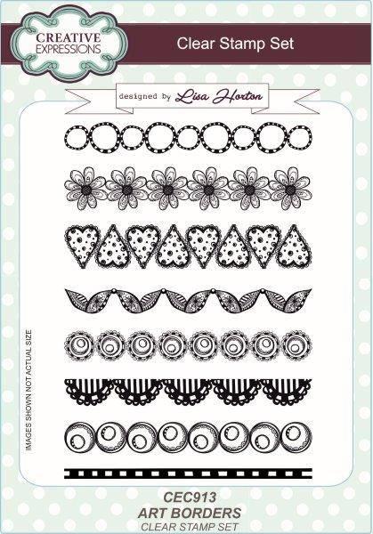 lisa horton a5 stamp set art borders