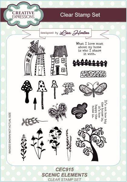 lisa horton a5 stamp set scenic elements