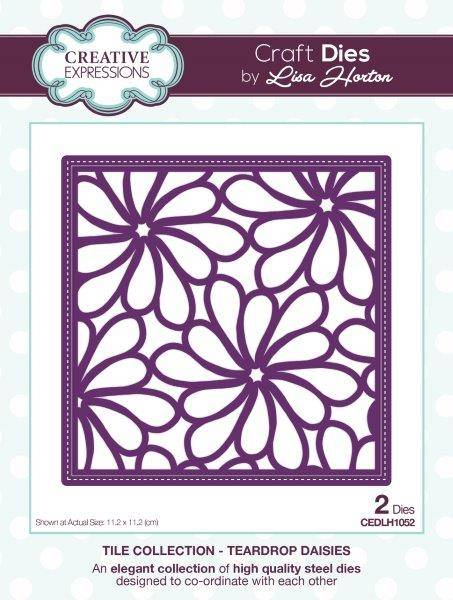 lisa horton craft dies tile collection teardrop daises