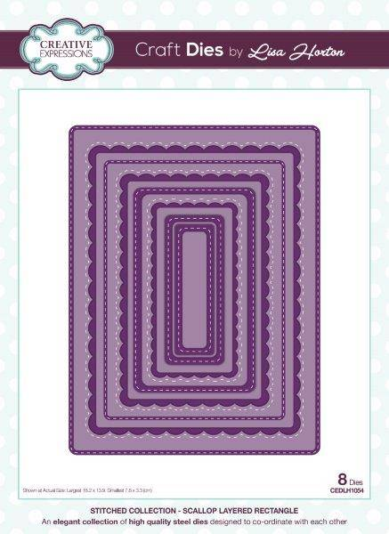 lisa horton craft dies stitched collection scallop layered rectangle