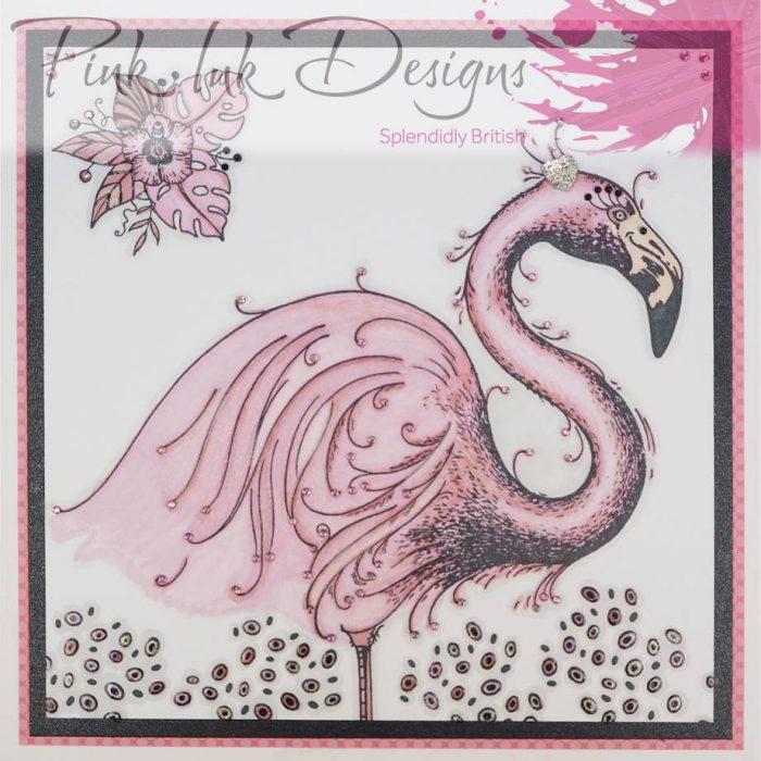 Pink Ink Designs A5 Flamingo Stamp Sample
