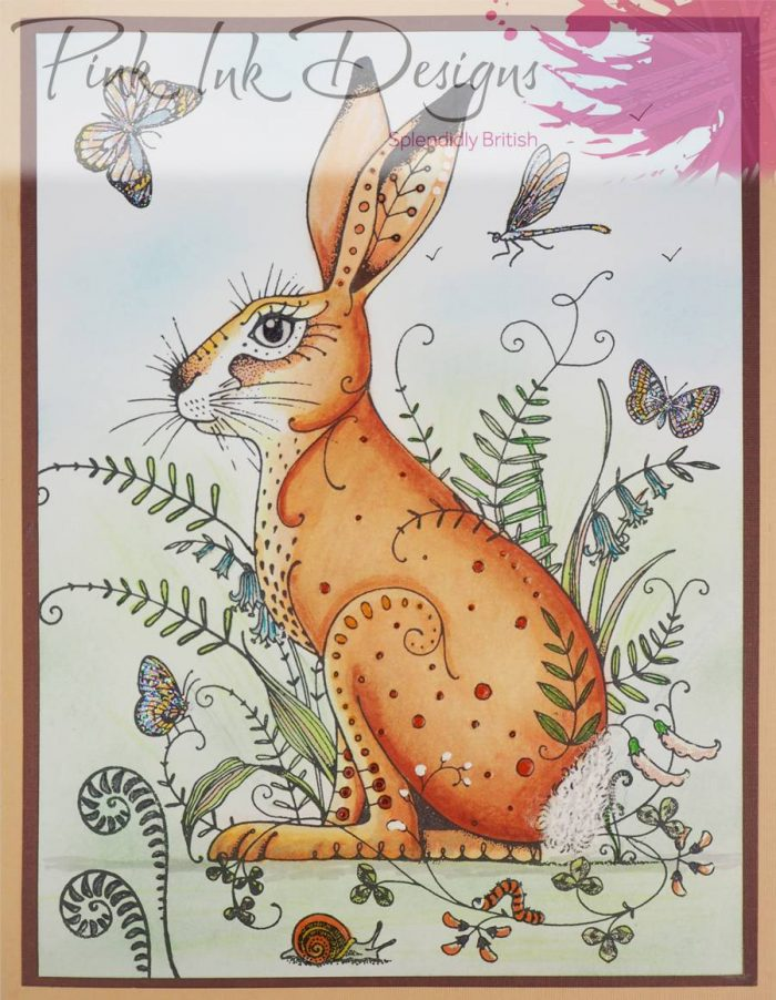 Pink Ink Designs A5 Meadow Hare Stamp Sample