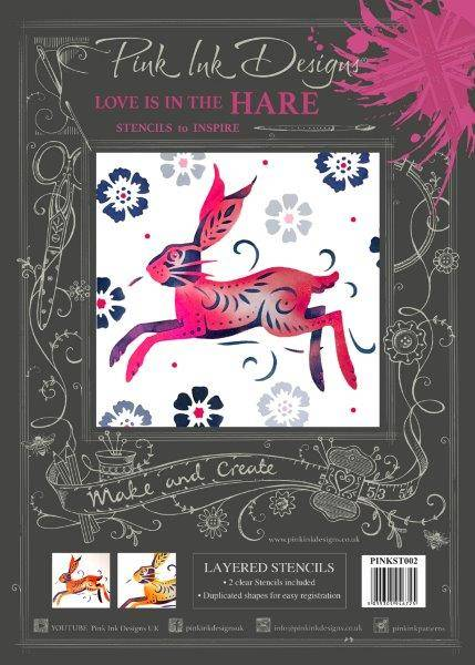 pink ink designs layered stencil hare