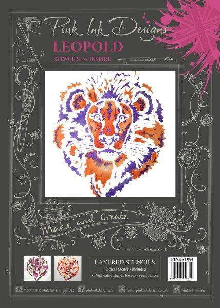 pink ink designs layered stencil leopold lion