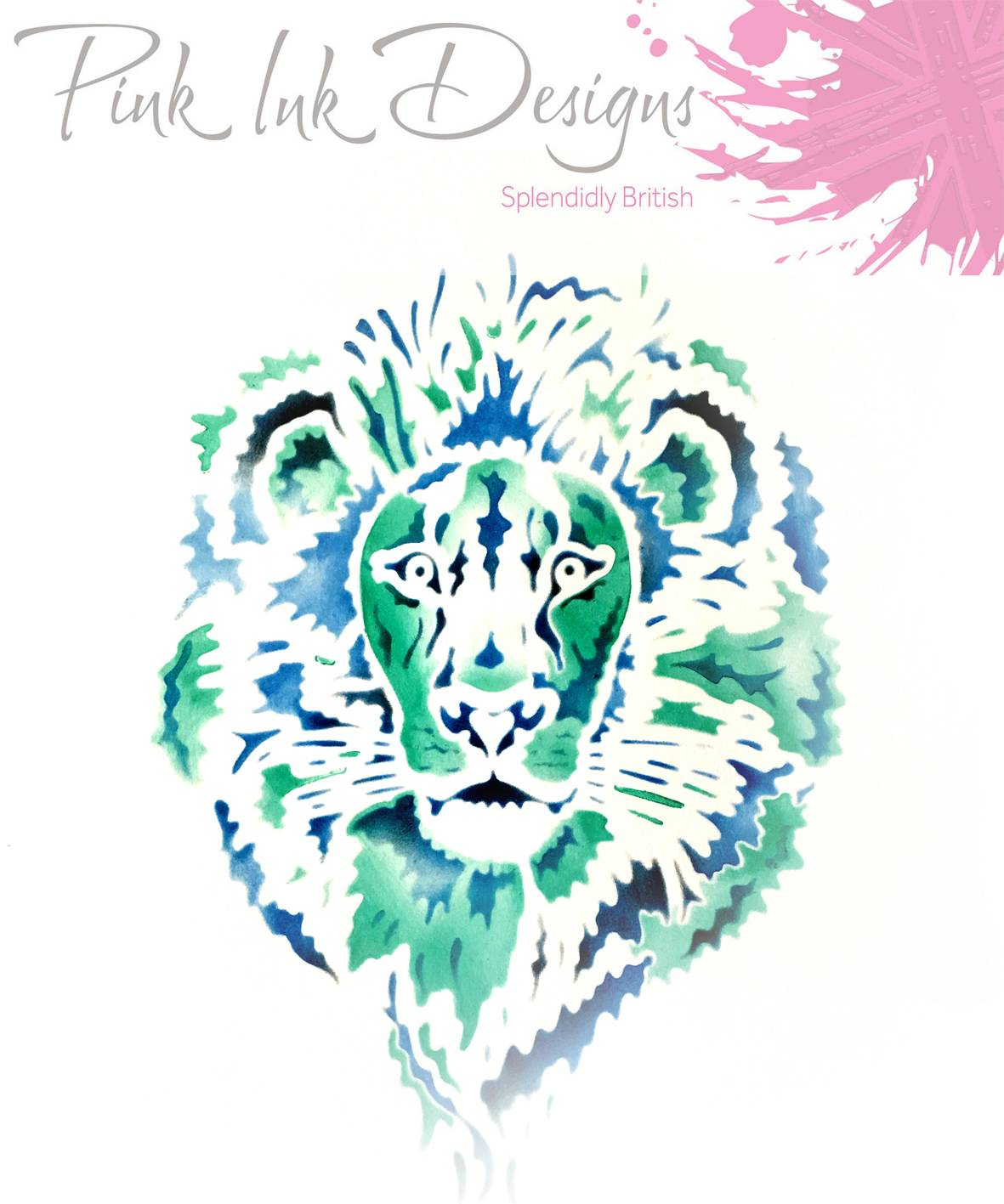 pink ink designs layered stencils lion sample