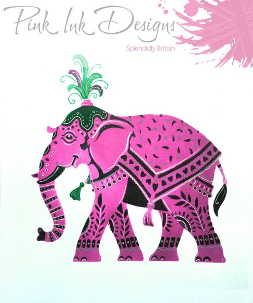 pink ink designs layered stencil elephant sample