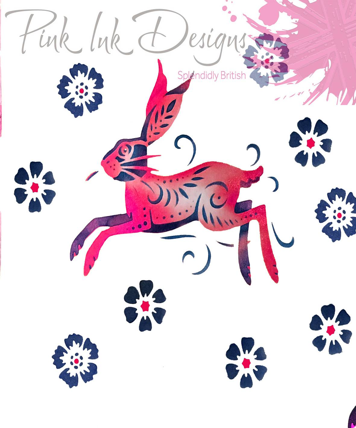 pink ink designs layered stencils hare sample