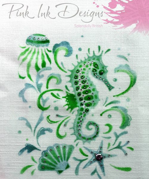 pink ink designs layered stencil seahorse sample