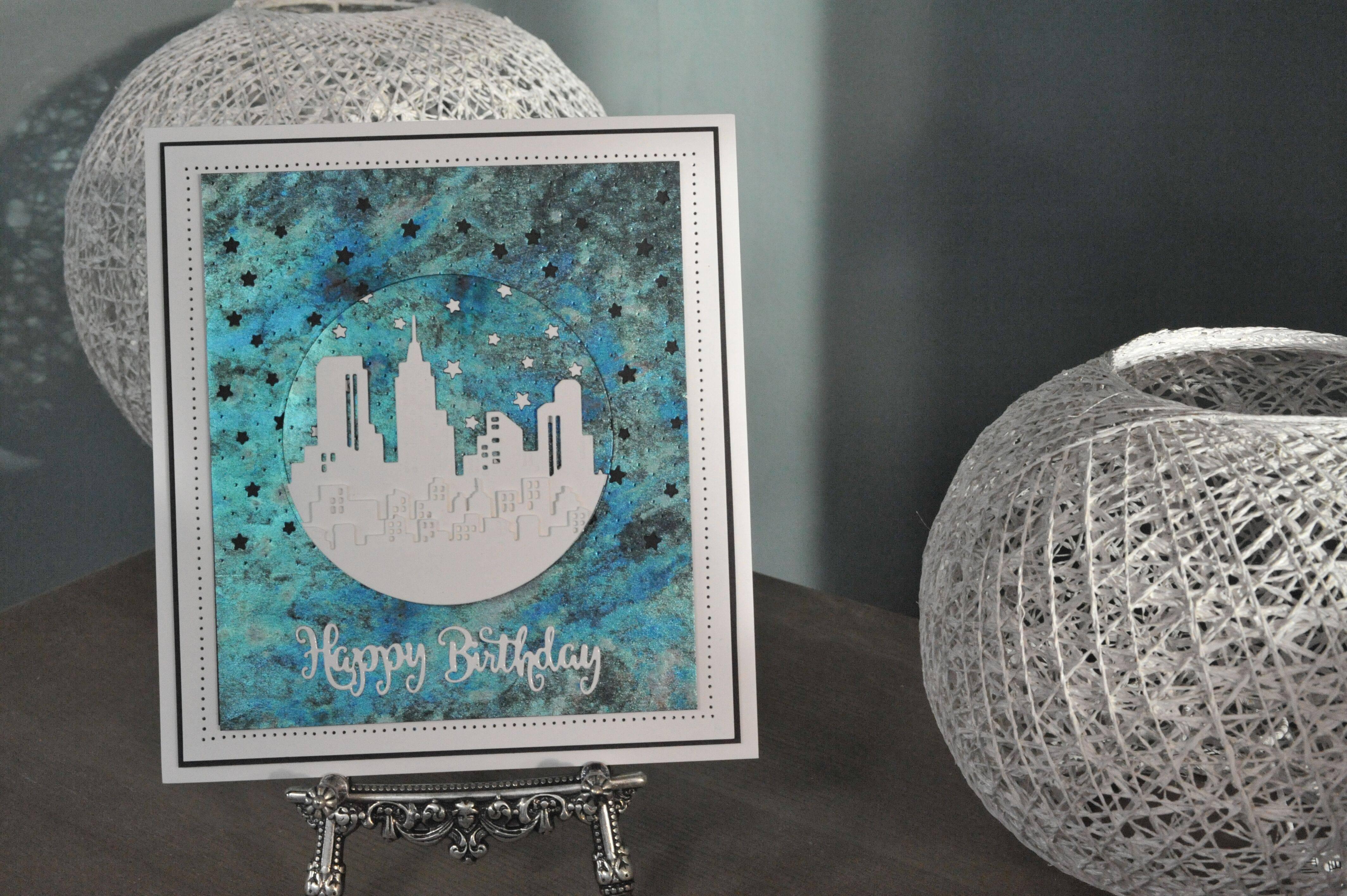 Cityscape Happy Birthday card