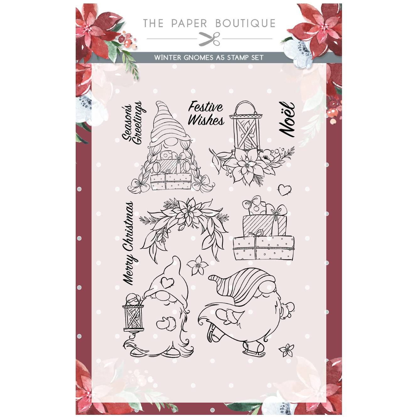 CREATIVE EXPRESSIONS THE PAPER BOUTIQUE WINTER GNOMES A4 PAPER PAD CARD INSERT COLLECTION